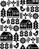 Nordic, Scandinavian inspired folk art seamless pattern - Finnish vector design in black and white. Vector monochrome wallpaper background with flowers, Finnish Royalty Free Stock Photography