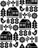Nordic, Scandinavian inspired folk art seamless pattern - Finnish vector design in black and white. Vector monochrome wallpaper background with flowers, Finnish stock illustration