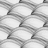 Vector Monochrome Wave Seamless Pattern Stock Image