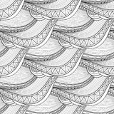 Vector Monochrome Wave Seamless Pattern Stock Images