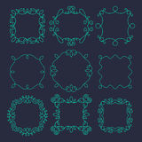 Vector monogram frames set with place for text. Vintage vector monogram ornamental frames set with place for text on black background Stock Photo