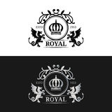 Vector monogram logo template. Luxury crown design. Graceful vintage dragons silhouettes.Used for hotel, restaurant etc. Royalty Free Stock Images