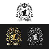 Vector monogram logo template. Luxury crown design. Graceful vintage griffin silhouettes illustration. Stock Photography