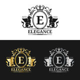 Vector monogram logo template. Luxury letter design. Graceful vintage character with griffin symbols illustration. Used for hotel, restaurant, boutique Royalty Free Stock Photography