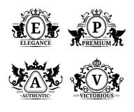 Vector monogram logo templates.Luxury letters design.Graceful vintage characters with animals silhouettes illustrations. Stock Photography