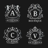 Vector monogram logo templates. Luxury letters design. Graceful vintage characters with crown and lions illustration. Used for hotel, restaurant, boutique vector illustration