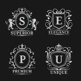 Vector monogram logo templates. Luxury letters design. Graceful vintage characters with crown and lions illustration. Used for hotel, restaurant, boutique stock illustration