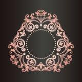 Vector monogram. Vintage art frame. Golden leaf ornament. Border. vector illustration