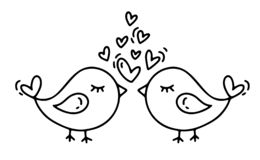 Vector monoline two birds with hearts. Valentines Day Hand Drawn icon. Holiday sketch doodle Design plant element royalty free illustration