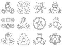 Vector Monolinie Bilder von Handspinnerspielwaren für Antidruckspiele Lizenzfreie Stockfotos