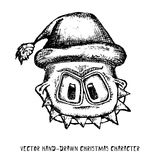 Vector monster face character in santa red hat. Doodle style monster. merry christmas creative card Royalty Free Stock Images