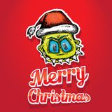 Vector monster face character in santa red hat. Doodle style monster. merry christmas creative card Royalty Free Stock Photos