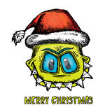 Vector monster face character in santa red hat. Royalty Free Stock Images