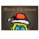 Vector monster face character in santa red hat. Doodle style monster. merry christmas creative card Stock Photography
