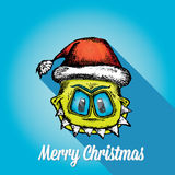 Vector monster face character in santa red hat. Stock Photography