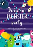 Vector monster party invitation poster with crowd of cute monsters  Royalty Free Stock Photo