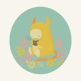 Vector monster and tea stock illustration