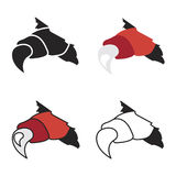 Vector monsters or dragon red claws in crack Royalty Free Stock Photo