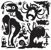 Vector monsters party set. Large collection of cartoon monsters vector silhouettes vector illustration