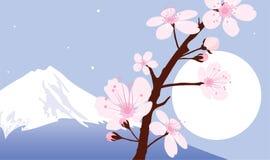 vector a montagem Fuji, lua e o sakura ilustração do vetor