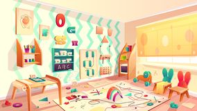 Vector montessori room with rubbish, elementary school. Vector montessori room with paint blots, elementary school with rubbish. Kindergarten for infants vector illustration