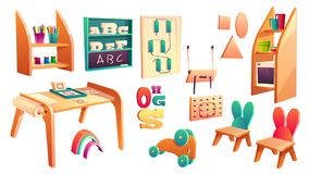 Vector montessori set, elements for elementary school. Isolated on white background. Kindergarten for infants, daycare for kids. Primary education in game vector illustration
