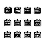 Vector month on calender. Black vector illustration