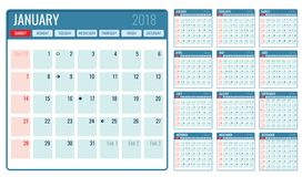Vector monthly calendar template 2018 year. Illustration of month planner page vector illustration