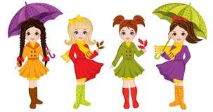 Vector Mooi Autumn Girls met Paraplu's en Bladeren royalty-vrije illustratie