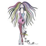 Vector mooi hand getrokken artistiek meisje met lang haar, kleding met bloemen, bladeren, vlinder Creatieve artistieke decoratief vector illustratie