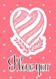 Vector mooi kaartmalplaatje met gestreepte hart en boomtak Stock Afbeelding
