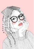 Vector mooi meisje met een boek op haar hoofd vector illustratie