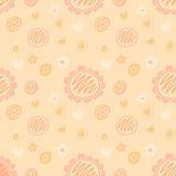 Vector mooi vrouwelijk bloemenpatroon als achtergrond in perzikkleur Stock Foto