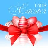 Vector mooie 3d illustratie Geschilderde eieren en boog in verrijzenis van de vakantie van Christus Pasen, Stock Foto's