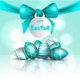 Vector mooie 3d illustratie Geschilderde eieren en boog in verrijzenis van de vakantie van Christus Pasen, Stock Afbeelding