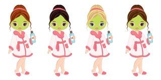 Vector Mooie Jonge Meisjes die Gezichtsbehandeling in Kuuroord nemen royalty-vrije illustratie