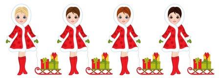 Vector Mooie Jonge Meisjes met Sleeën en Kerstmisgiften royalty-vrije illustratie
