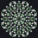 Vector Mooie Mandala Roses Background Bloemen Naadloze Patte Royalty-vrije Stock Afbeelding
