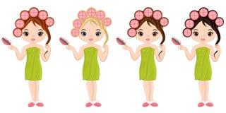 Vector Mooie Young Girls Taking Spa Behandeling royalty-vrije illustratie