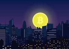 Vector Moon bitcoin symbol rising from modern night city. stock illustration