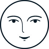 Vector moon face isolated on white background Stock Photo