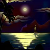 Vector moon over cold night sea royalty free illustration