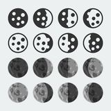 Vector  moon phases icons set. Vector phases of the moon icons set Stock Photo