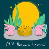 Vector Moon Rabbits and cook of Mid Autumn Festival. Cartoon style stock illustration