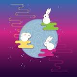Vector:  Moon Three Rabbits of Mid Autumn Festival Royalty Free Stock Photography