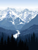 Vector morning in beautiful mountains with river. Illustration Stock Photography