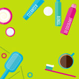 Vector morning beauty routine illustration set in flat style Stock Photos