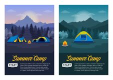 Vector morning and night mountains summer camp vertical banners vector illustration