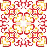 Vector of Moroccan tile red yellow Seamless Pattern for Design, Background Stock Photography