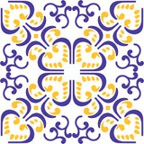 Vector of Moroccan tile violet yellow Seamless Pattern for Design, Background, Banner. Spanish element for Wallpaper, Ceramic or T Royalty Free Stock Image